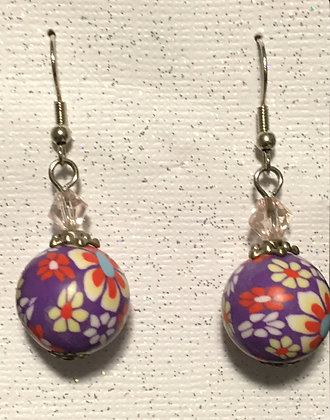 E-200042 Purple Flower earrings