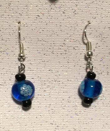 E-2000039 Blue glass bead with 2 small black bead earrings
