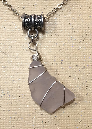 NS-180064 White with purple tint Sea Glass Necklace
