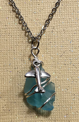 NS-180039 Aqua Blue Sea Glass Necklace w/plane