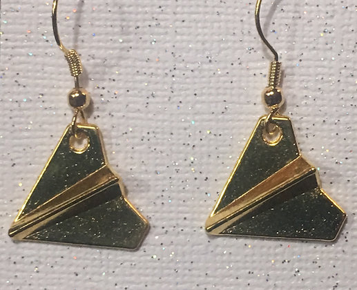 EA-180109 Gold plated paper airplane earrings