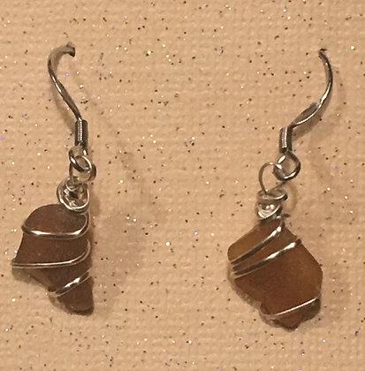 ES-180106 Brown Sea Glass Earrings
