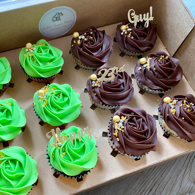 Green & Chocolate Elegant Cupcakes