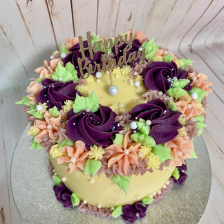 Purples Floral Cake