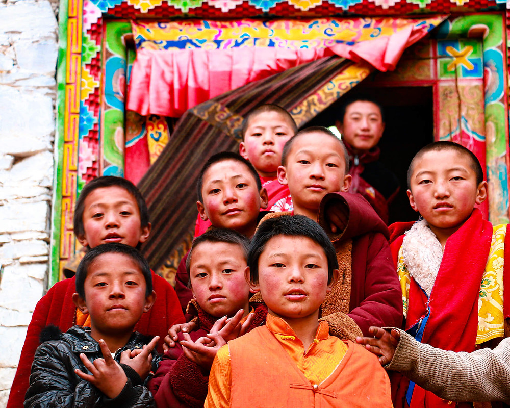 Group of Tibetan children