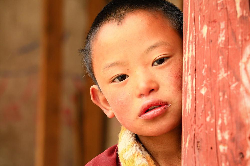 Retrato de niño monje tibetano