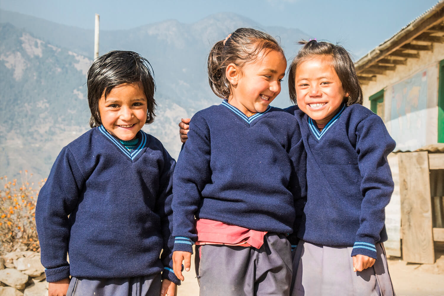Nepali children happy with their new pull overs
