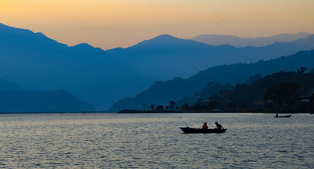 Sunset over Phewa Lake, Pokhara Lakes (Nepal)