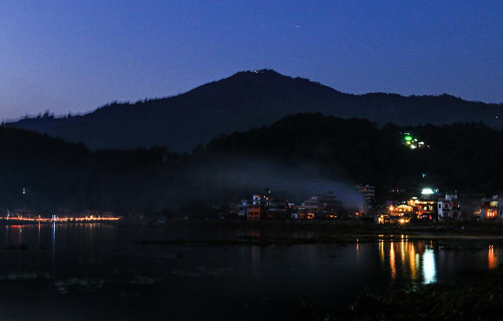 Pokahra Lake at night, Nepal