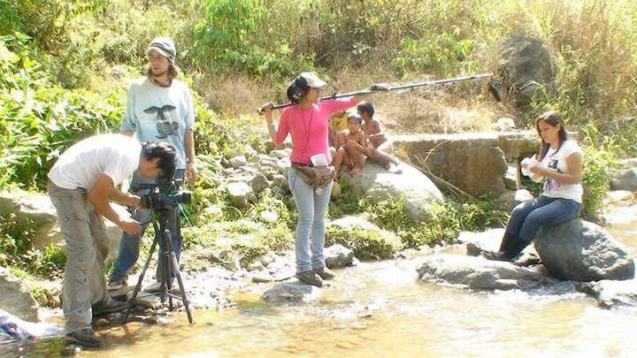 Miguel Cano filming a documentary movie in Piura