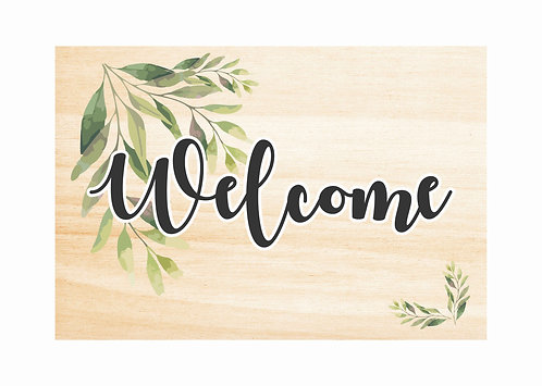 WOODEN WELCOME SIGN | Leaf