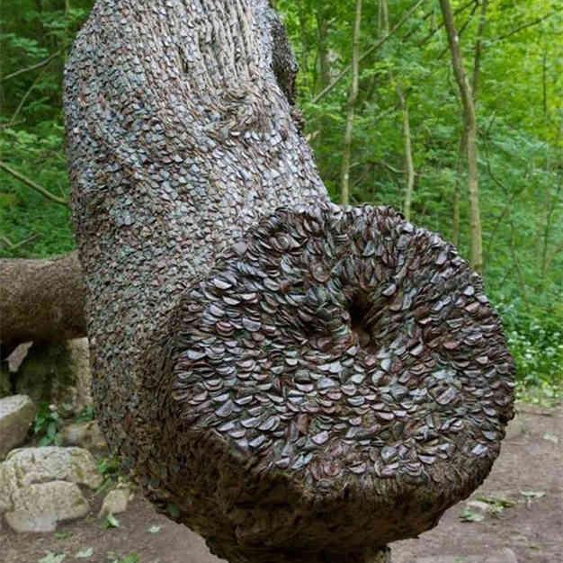 Это дерево люди нашли в лесу. Оно выглядело странно:присмотревшись, побелели