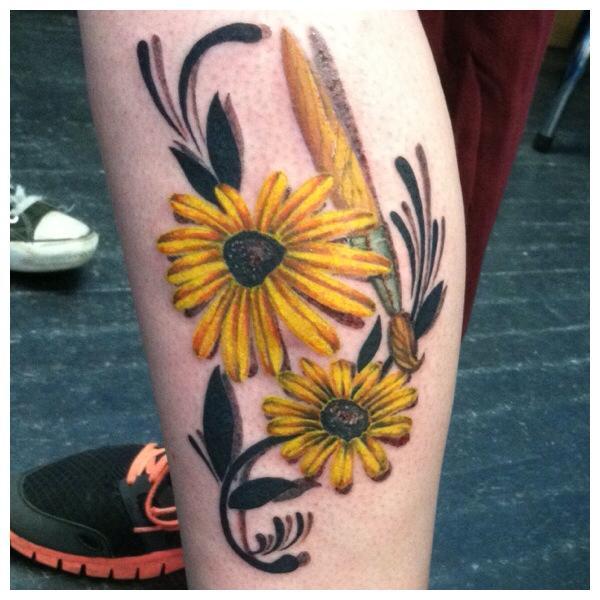 Sunflower with Paintbrush