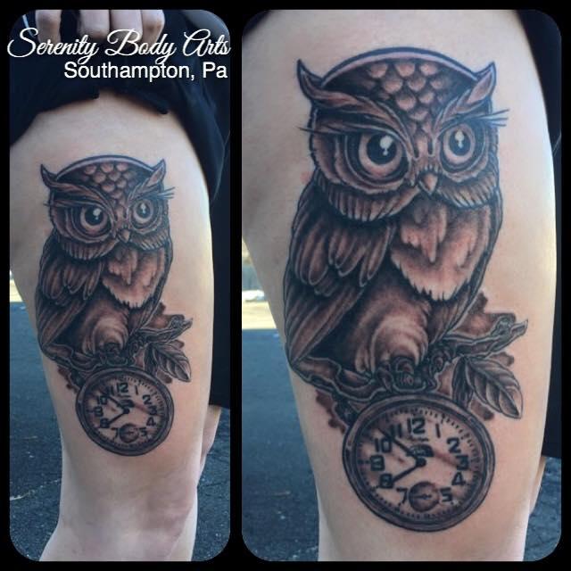 Black and Grey Owl with Clock