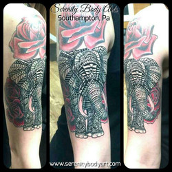 Elephant with Roses