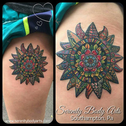 Vibrant Star/Flower Thigh Piece