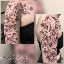Floral black and grey half sleeve