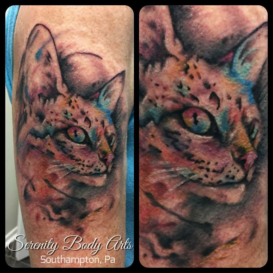Watercolor Savannah Cat