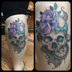 Skull with Flowers and Pocketwatch