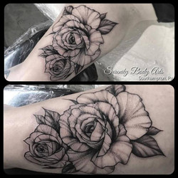 Rose Stippling Tattoo