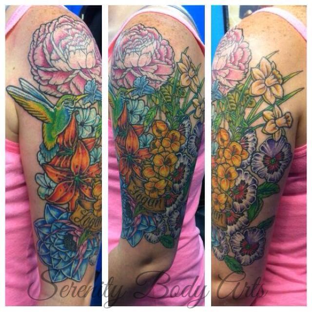 Floral and Hummingbird Half Sleeve