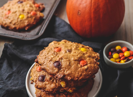 Peanut Butter Reese's Pieces Oatmeal Cookies