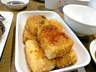 Deep Fried Tofu Pudding in Garlic Sauce