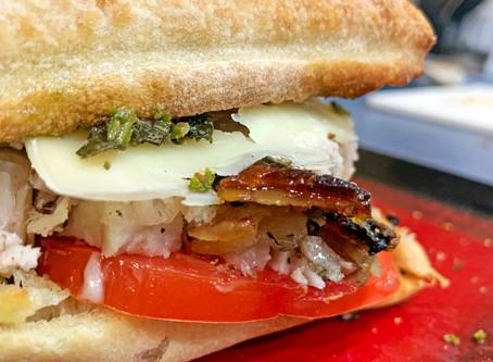 Pesto and Asiago Porchetta Sandwich