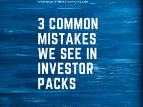 3 common mistakes we see in investor packs