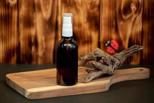Bouteille de Verre Ambré 100 ml Vaporisateur Blanc