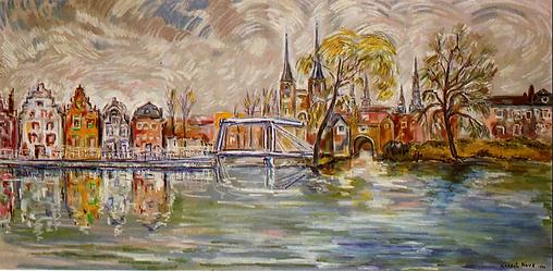 Vue Delft (huile sur toile, 1990)