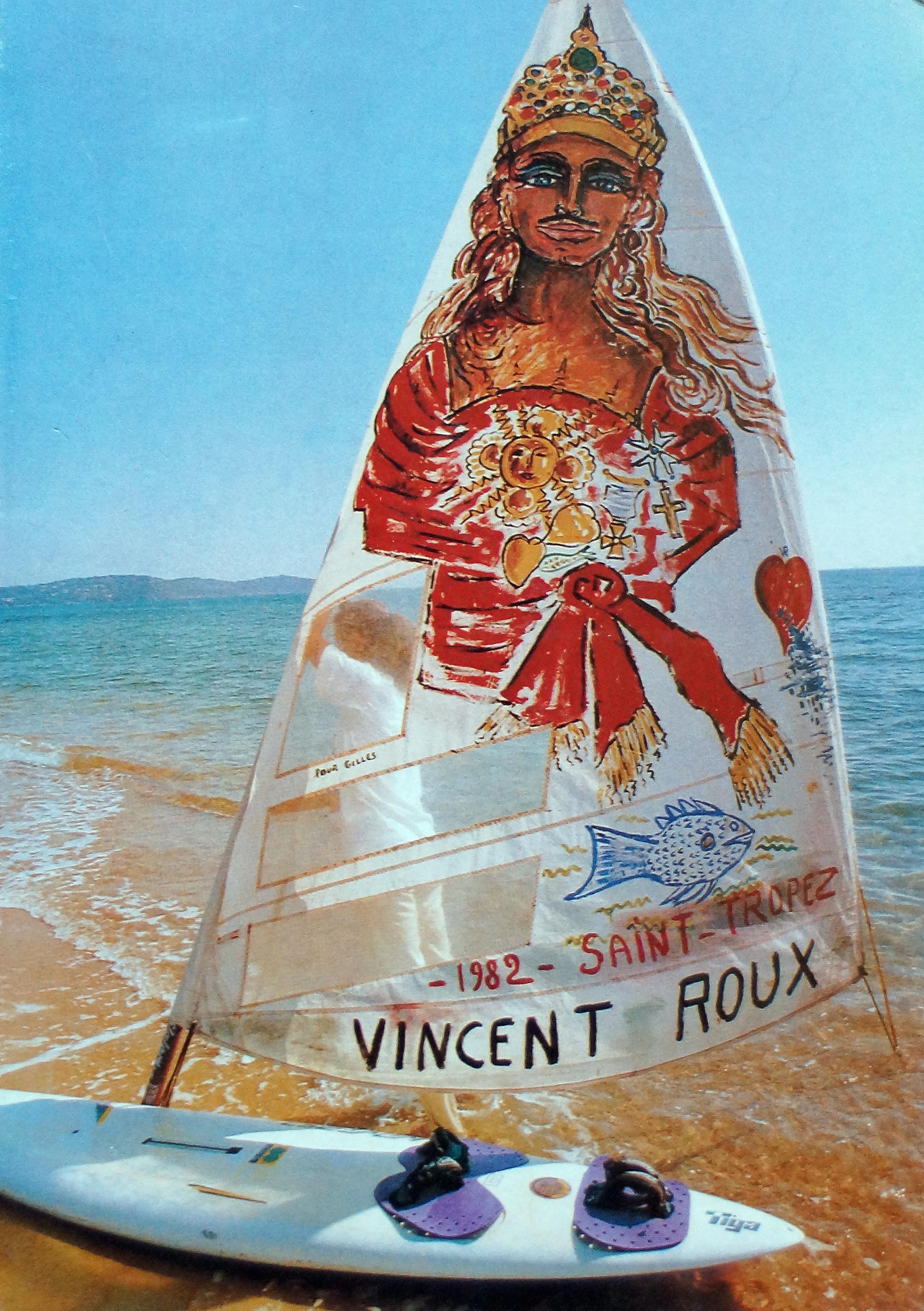 """Portrait de """"Saint-Tropez"""" sur voile"""