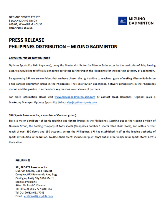 Mizuno Badminton Philippines Press Release