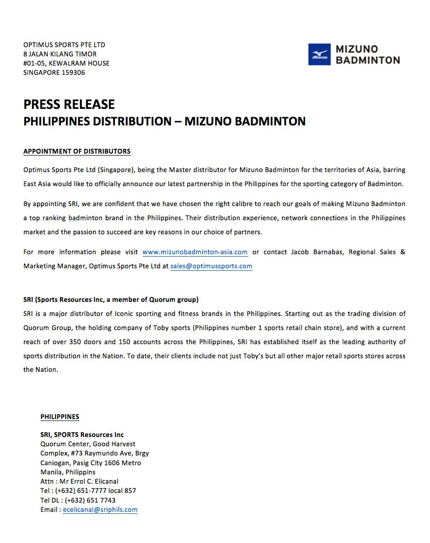 Philippines Distribution Press release