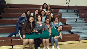 Interact Club Members having fun before the Thanksgiving Lunch for Seniors