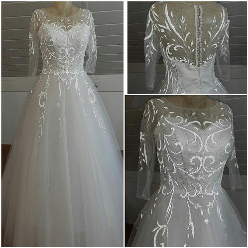 Свадебное платье Марина рукав(светоотражающее кружево)