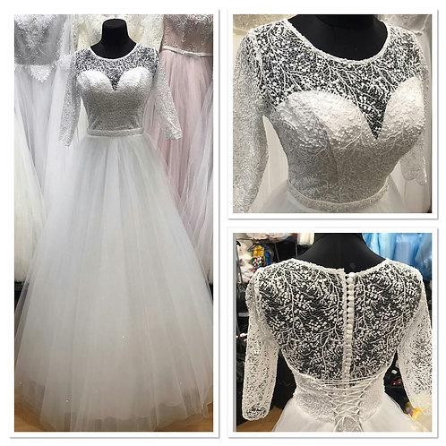 Свадебное платье ВВ2100(лиф расшит паеткой) юбка блеск!