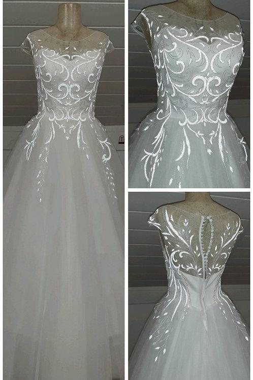 Свадебное платье Марина майка (светоотражающее кружево)