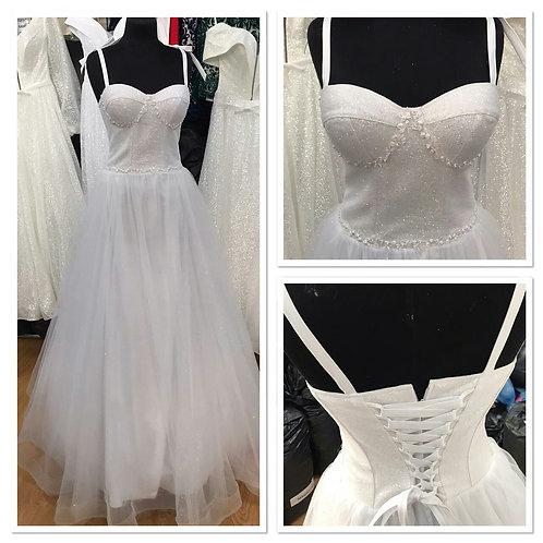Свадебное платье ВВ2120 (лиф с кружевом, юбка легкий блеск)