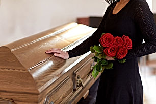 casket and woman