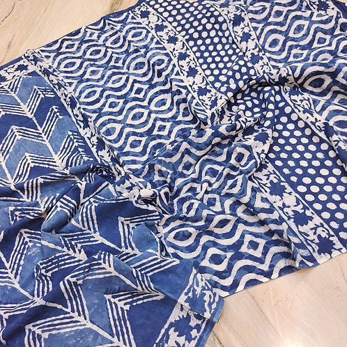 Mul Cotton Indigo Print
