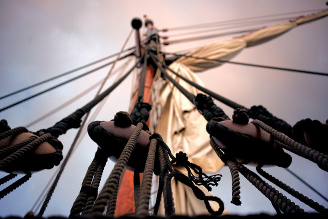 The Pirates Experience ship rig pulleys