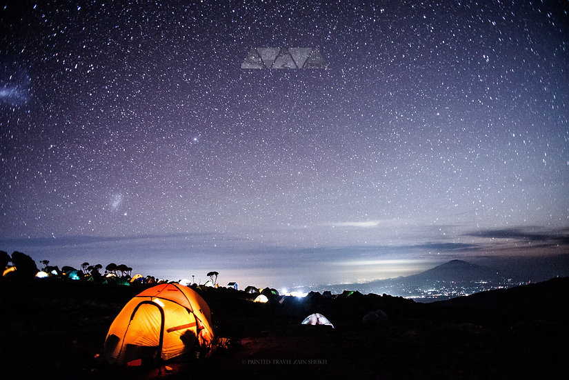 Glowing Tents on Kilimanjaro