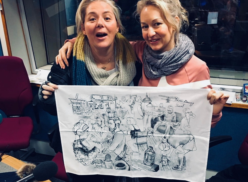 Cherie Jerrard, me and a Tea Towel at BBC Radio Shropshire