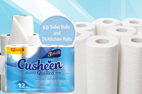 60 x Cusheen 3PLY QUILTED white Toilet Rolls + 24 2PLY Kitchen Rolls