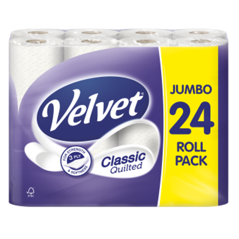 24 VELVET QUILTED 3PLY CLASSIC TOILET ROLLS
