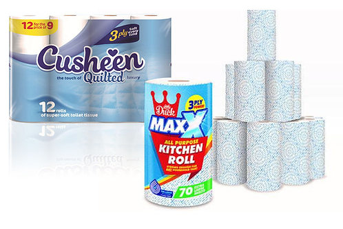 60 CUSHEEN 3PLY TR +12 MAXXEXTRA LARGE 3PY KITCHEN ROLL COMBO OFFER