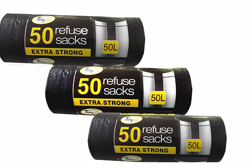 100 Extra Strong 50L Tidyz Black REFUSE Bags