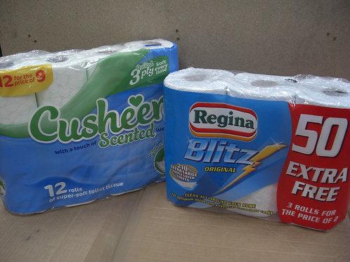 60 Cusheen Aloe Vera, Cherry or White +12 Extra-Large Rolls Blitz Kitchen Towels
