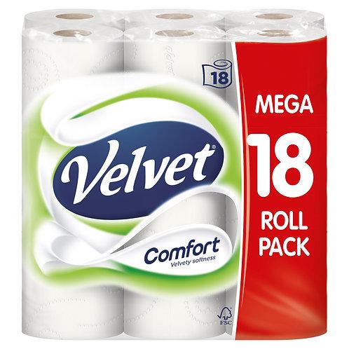 VELVET 18 PACK COMFORT TOILET ROLLS
